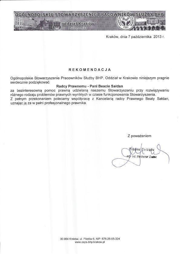 Ogólnopolskie Stowarzyszenie Pracowników Służby BHP Kraków